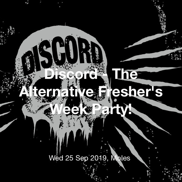 Discord - The Alternative Fresher's Week Party! Tickets @ Moles, Bath - 25  September 22:00 | TickX